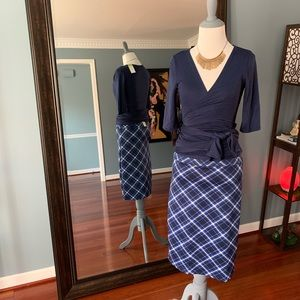 Pencil Skirt - Blue Plaid